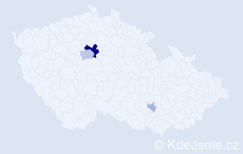 Příjmení: 'Kentová', počet výskytů 5 v celé ČR
