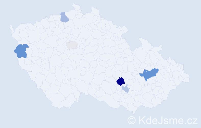 Příjmení: 'Ehrmannová', počet výskytů 10 v celé ČR