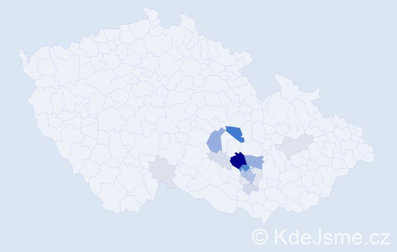 Příjmení: 'Klepárníková', počet výskytů 54 v celé ČR