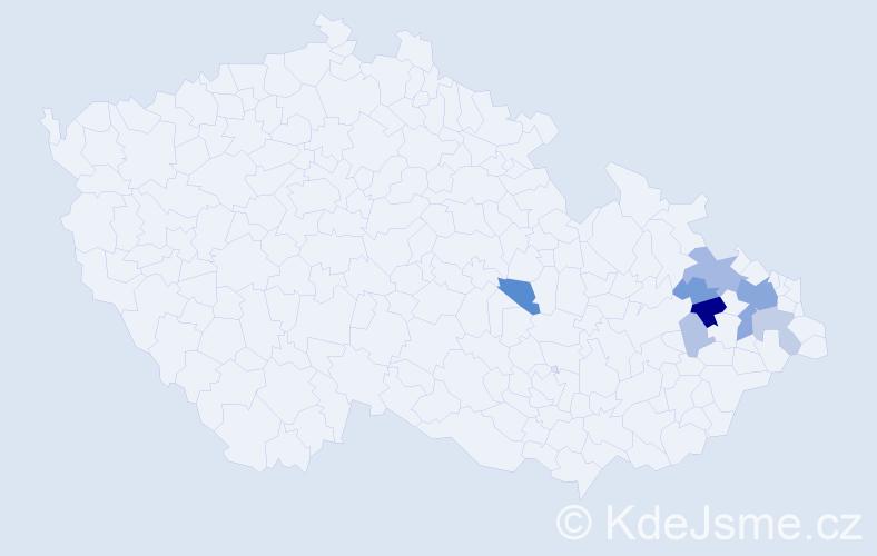 Příjmení: 'Červková', počet výskytů 25 v celé ČR