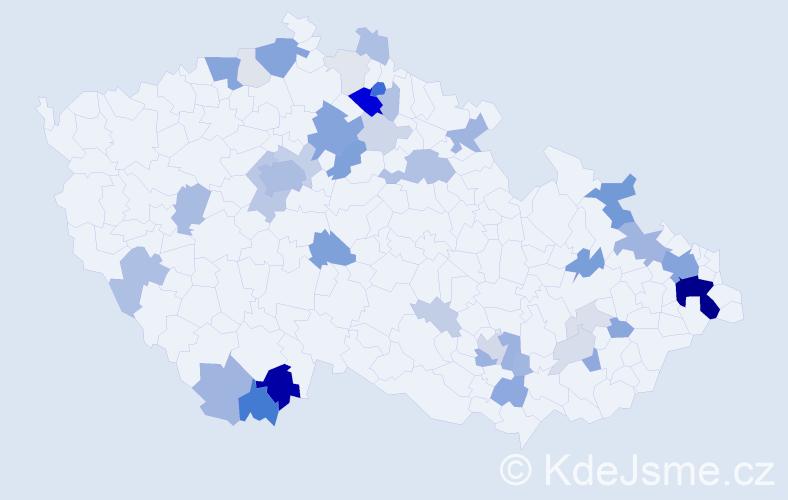 Příjmení: 'Haleš', počet výskytů 155 v celé ČR