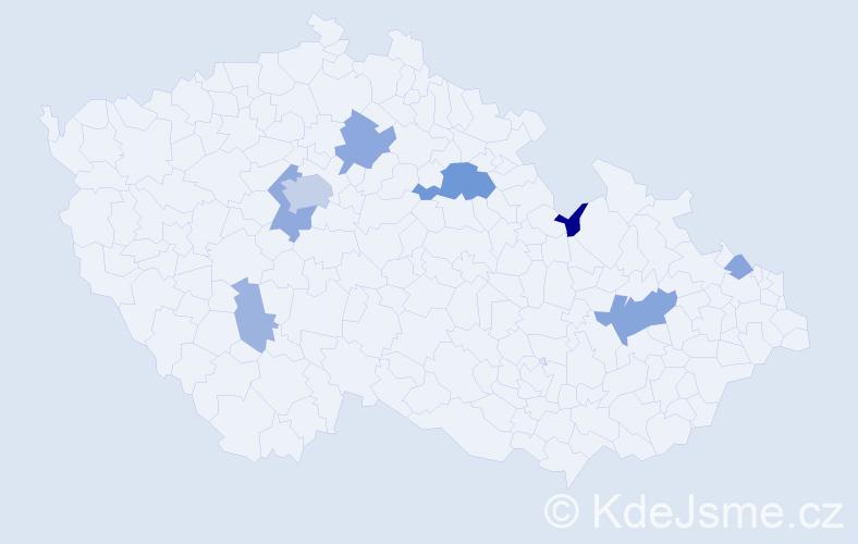 Příjmení: 'Ettelová', počet výskytů 21 v celé ČR
