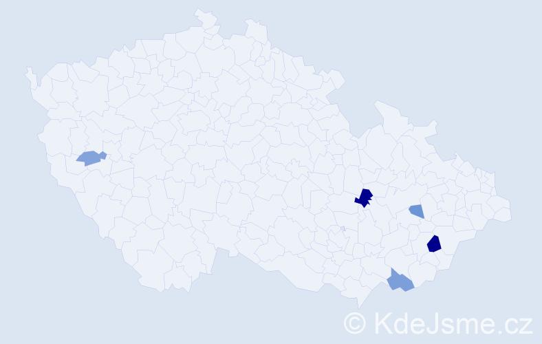 Příjmení: 'Čerešníková', počet výskytů 9 v celé ČR