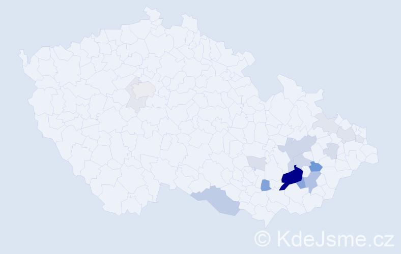 Příjmení: 'Kochaníček', počet výskytů 55 v celé ČR