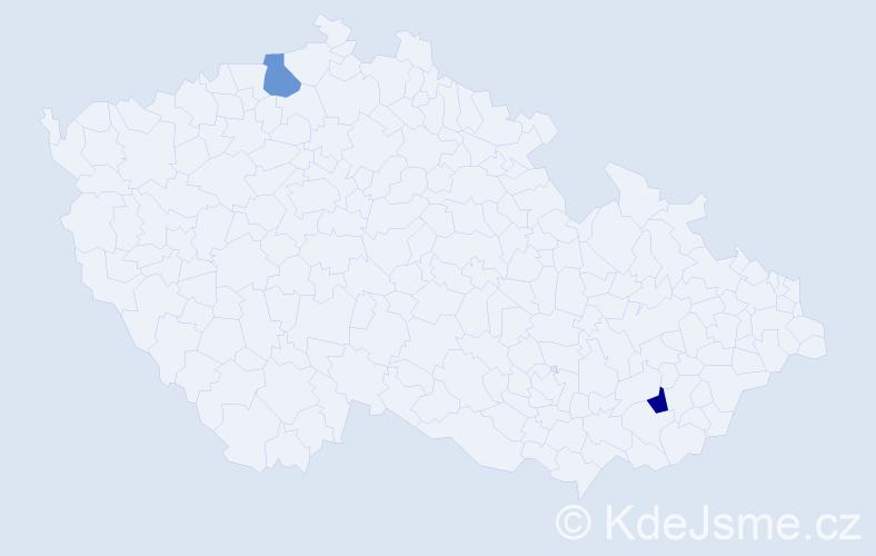 Příjmení: 'Ehnertová', počet výskytů 2 v celé ČR
