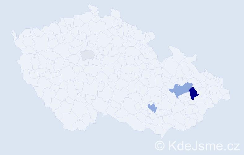 Příjmení: 'Hadam', počet výskytů 11 v celé ČR