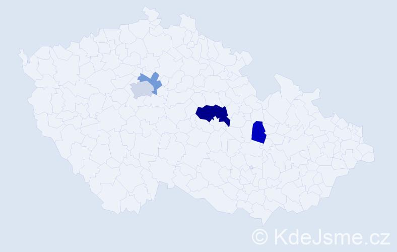 Příjmení: 'Klosák', počet výskytů 7 v celé ČR