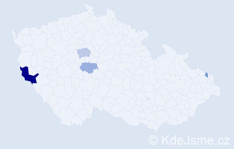 Příjmení: 'Grendelová', počet výskytů 13 v celé ČR