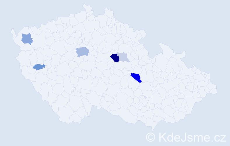 Příjmení: 'Herglová', počet výskytů 21 v celé ČR