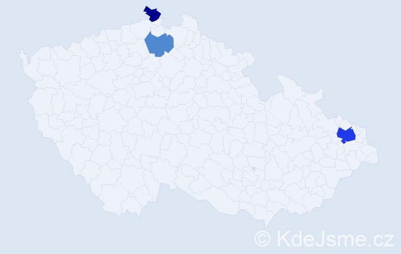 Příjmení: 'Čigaš', počet výskytů 6 v celé ČR