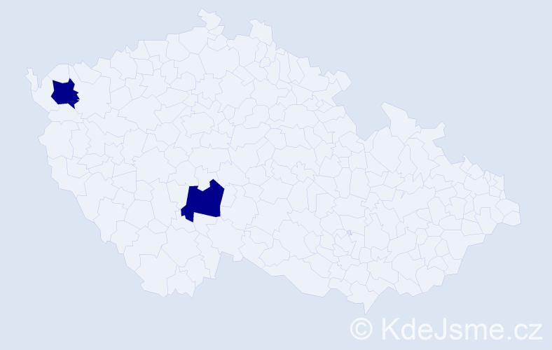 Příjmení: 'Gulárová', počet výskytů 6 v celé ČR