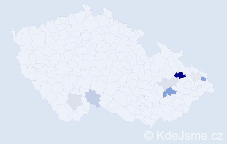 Příjmení: 'Glubiš', počet výskytů 15 v celé ČR