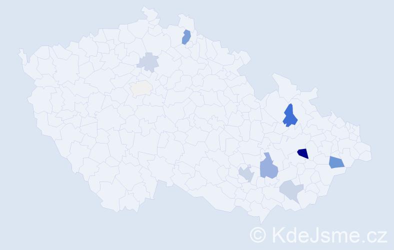Příjmení: 'Hanslian', počet výskytů 30 v celé ČR