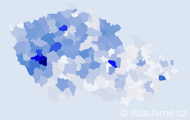 Příjmení: 'Červená', počet výskytů 2510 v celé ČR