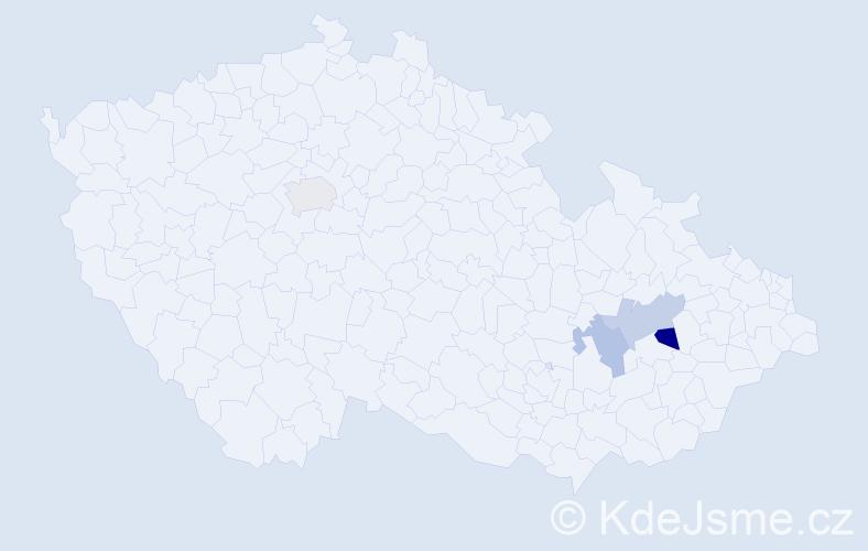 Příjmení: 'Barveníčková', počet výskytů 9 v celé ČR
