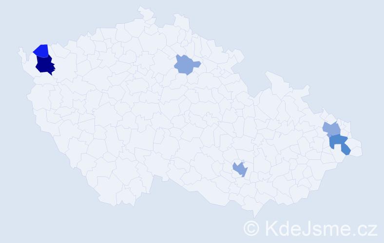 Příjmení: 'Killingerová', počet výskytů 22 v celé ČR