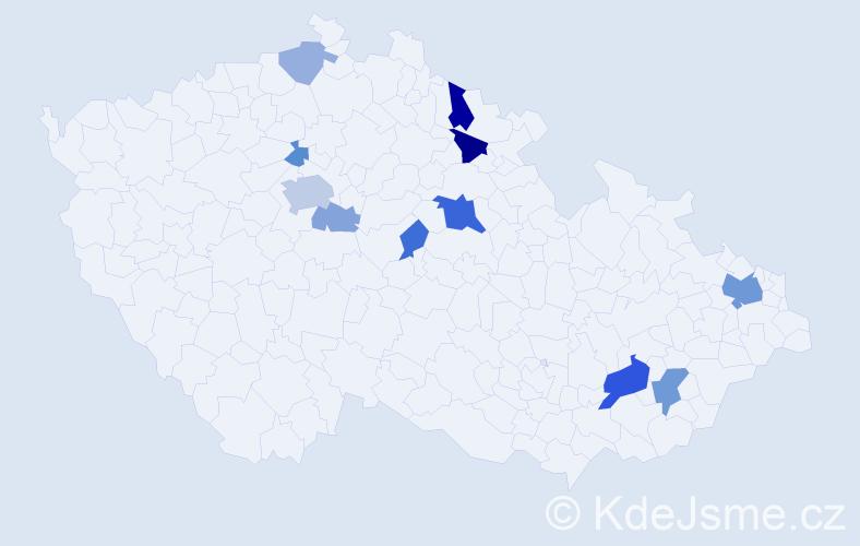 Příjmení: 'Klepš', počet výskytů 27 v celé ČR