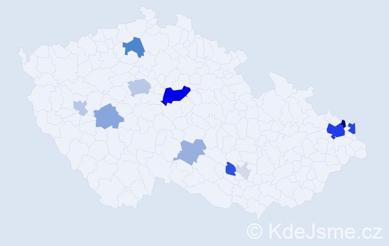Příjmení: 'Čahoj', počet výskytů 30 v celé ČR