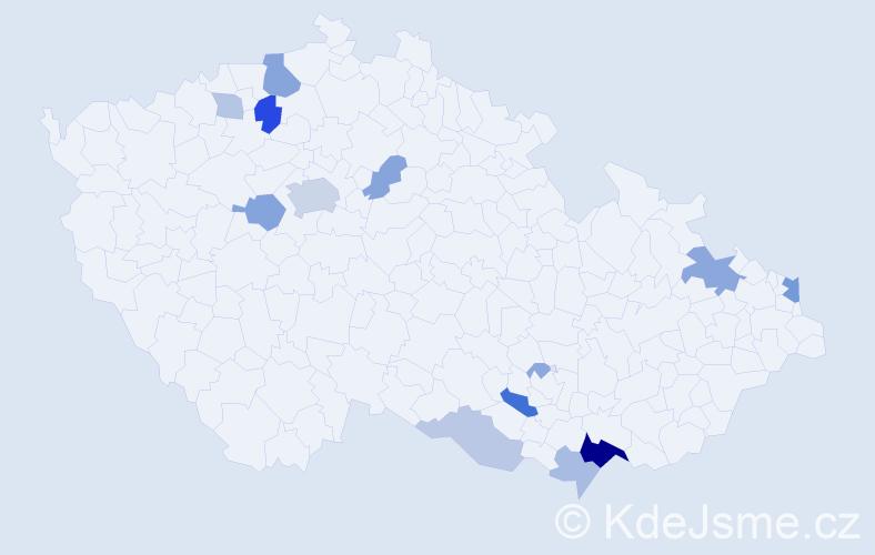 Příjmení: 'Gertner', počet výskytů 59 v celé ČR