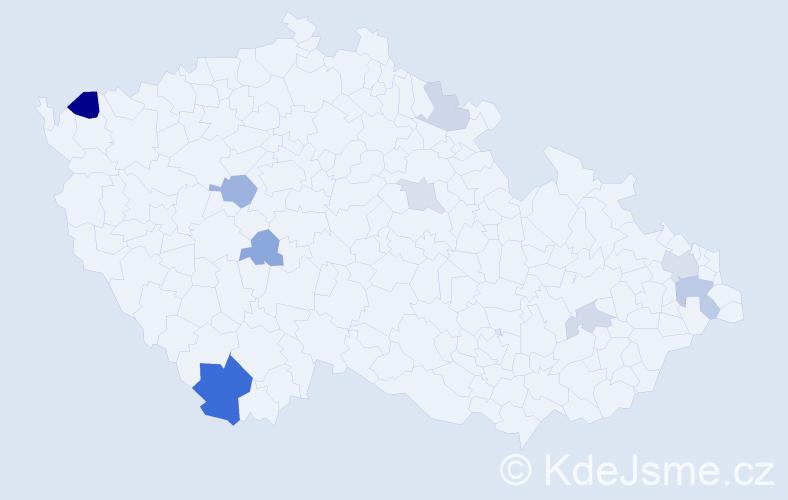 Příjmení: 'Čabaj', počet výskytů 18 v celé ČR