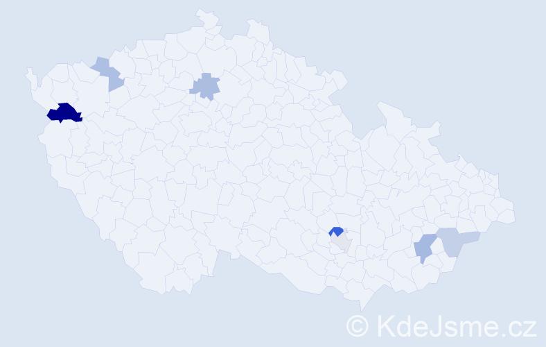Příjmení: 'Kandel', počet výskytů 12 v celé ČR