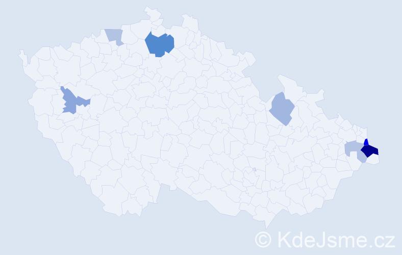 Příjmení: 'Kulhanková', počet výskytů 14 v celé ČR