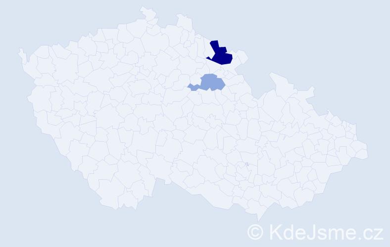 Příjmení: 'Čerenkova', počet výskytů 4 v celé ČR