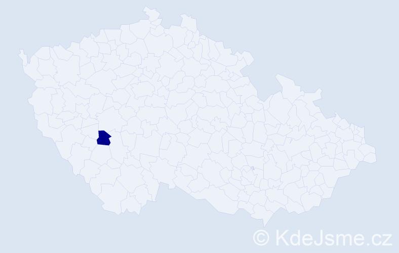 Příjmení: 'Jahr', počet výskytů 1 v celé ČR