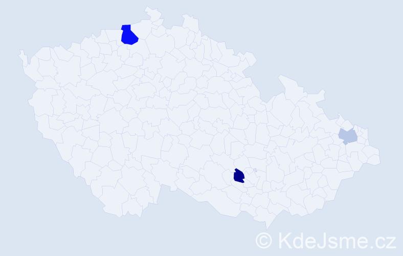 Příjmení: 'Koev', počet výskytů 5 v celé ČR