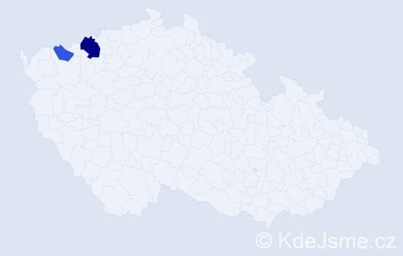 Příjmení: 'Egermann', počet výskytů 5 v celé ČR