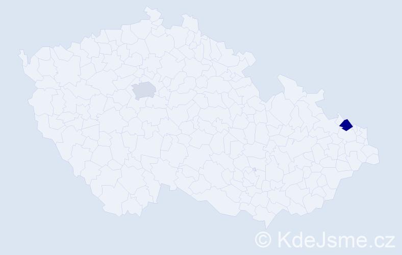Příjmení: 'Ebrahemová', počet výskytů 2 v celé ČR