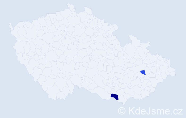Příjmení: 'Fernerová', počet výskytů 3 v celé ČR