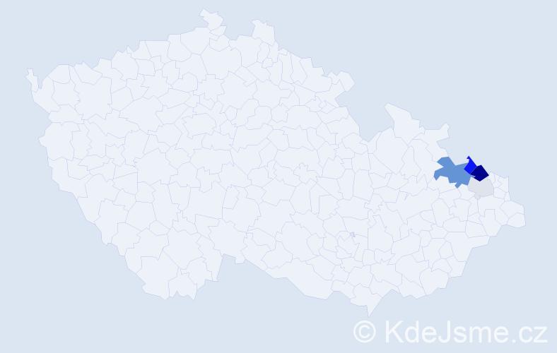 Příjmení: 'Češla', počet výskytů 12 v celé ČR