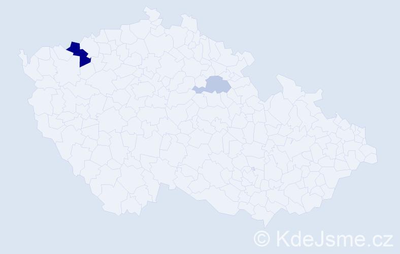 Příjmení: 'Kunsta', počet výskytů 5 v celé ČR