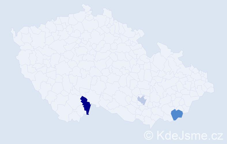 Příjmení: 'Evenová', počet výskytů 3 v celé ČR