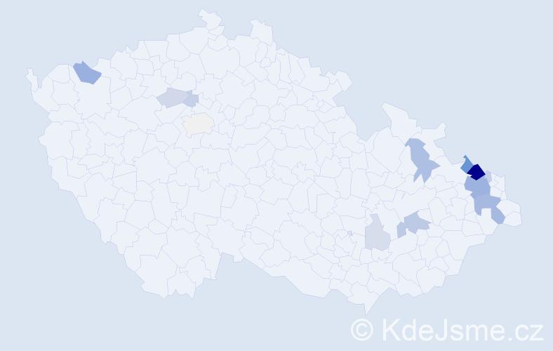 Příjmení: 'Bedrunková', počet výskytů 48 v celé ČR