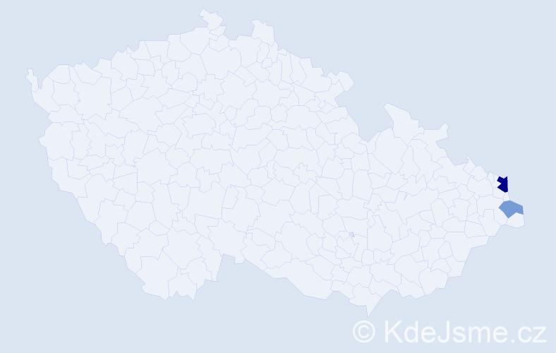 Příjmení: 'Lalurná', počet výskytů 5 v celé ČR