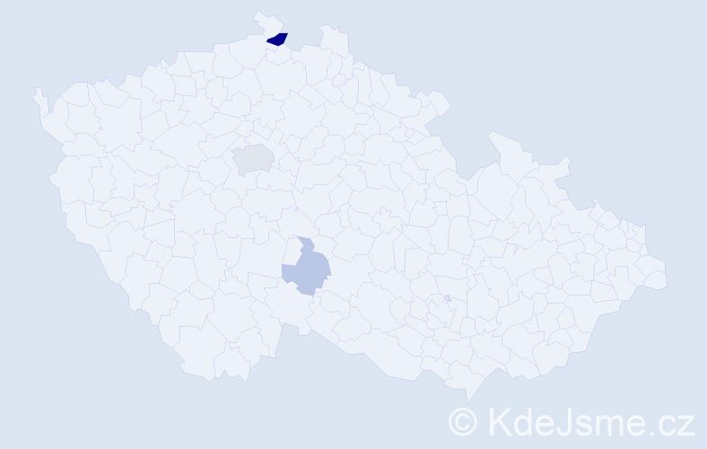 Příjmení: 'Baldé', počet výskytů 9 v celé ČR