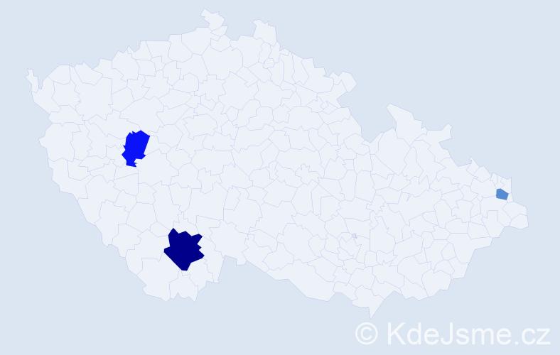 Příjmení: 'Aloui', počet výskytů 5 v celé ČR