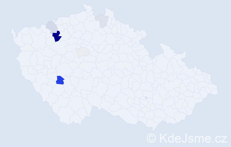 Příjmení: 'Cígl', počet výskytů 12 v celé ČR