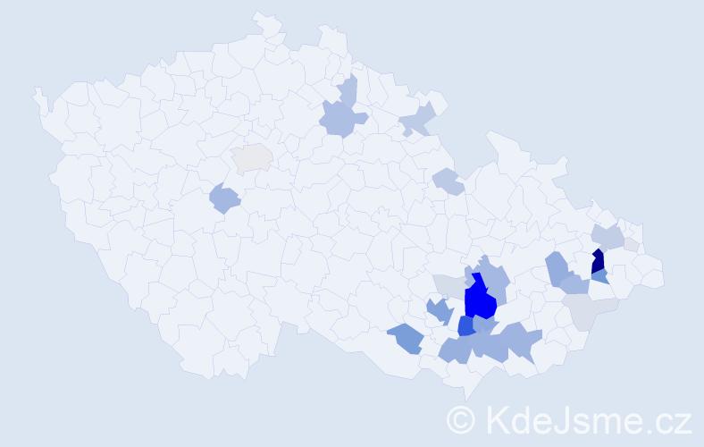 Příjmení: 'Kypr', počet výskytů 90 v celé ČR