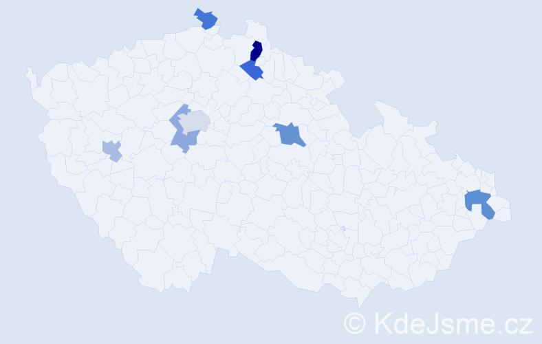 Příjmení: 'Čičko', počet výskytů 13 v celé ČR