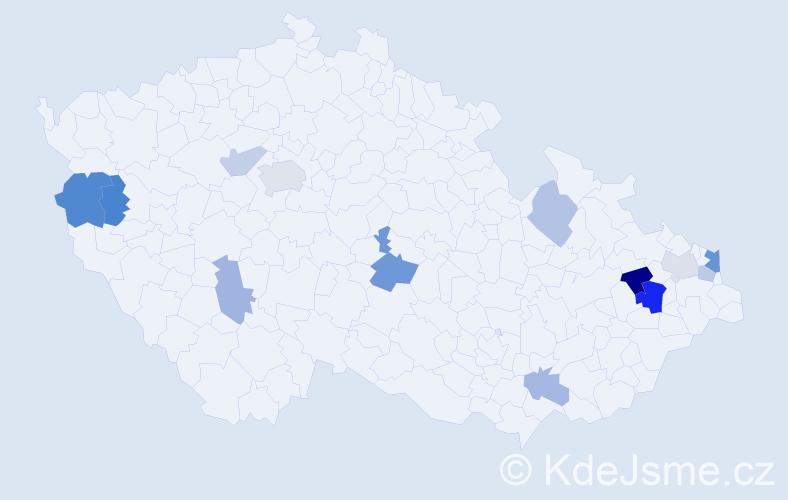 Příjmení: 'Lackovičová', počet výskytů 23 v celé ČR
