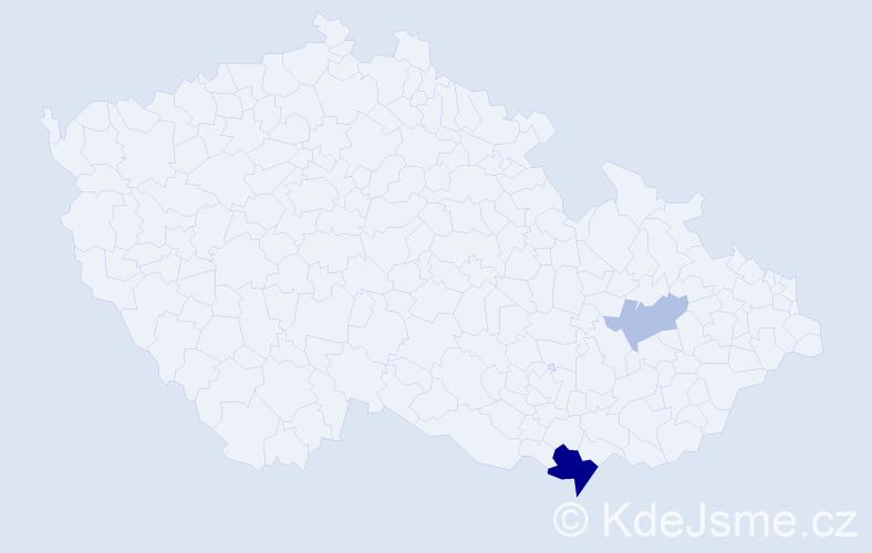 Příjmení: 'Hudyma', počet výskytů 5 v celé ČR
