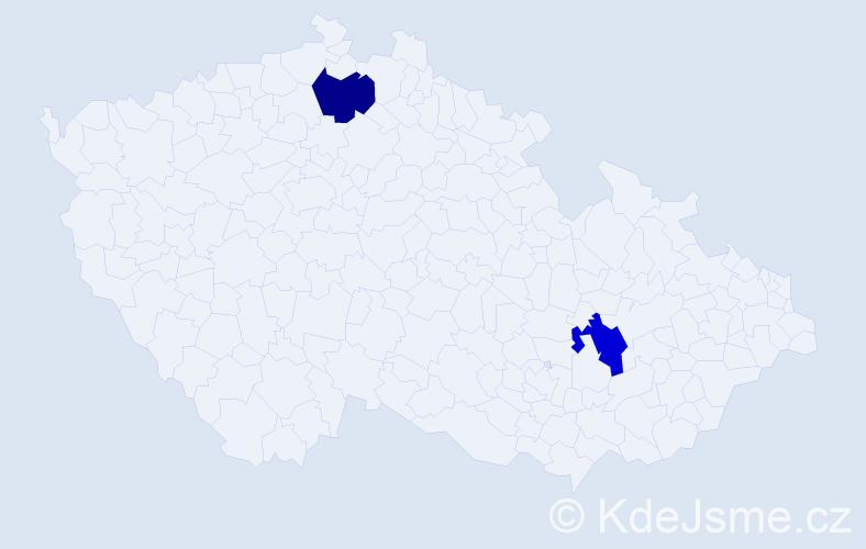 Příjmení: 'Jankůová', počet výskytů 2 v celé ČR