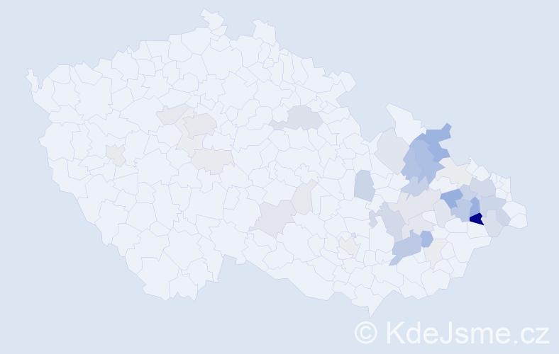 Příjmení: 'Makový', počet výskytů 127 v celé ČR