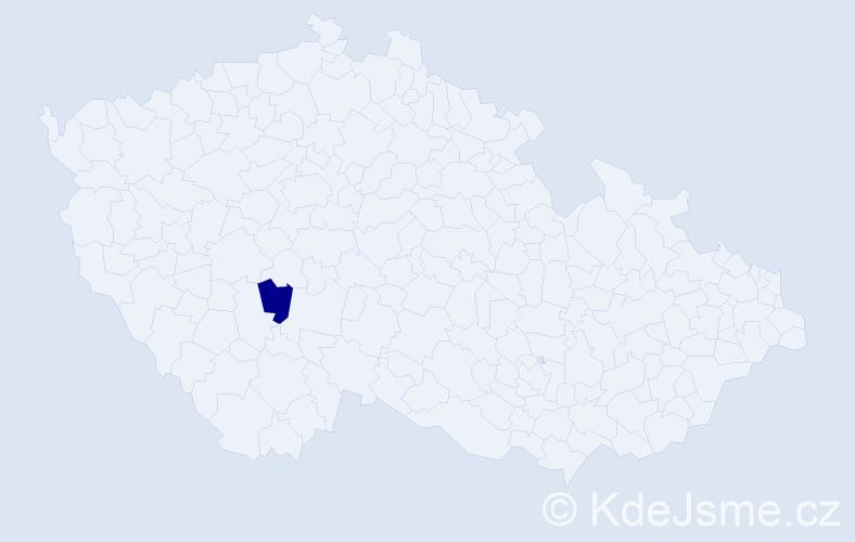 """Příjmení: '""""Laghoueg Robová""""', počet výskytů 1 v celé ČR"""