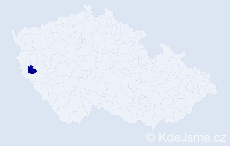 """Příjmení: '""""Gambert Antony""""', počet výskytů 1 v celé ČR"""