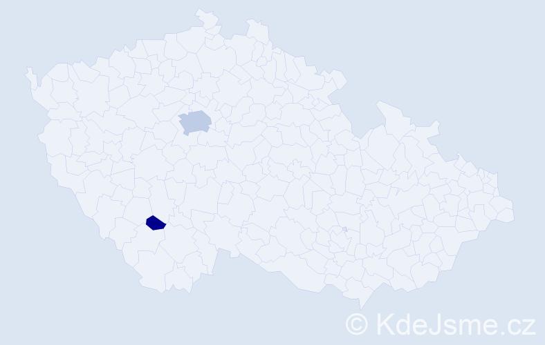 Příjmení: 'Bočínský', počet výskytů 7 v celé ČR