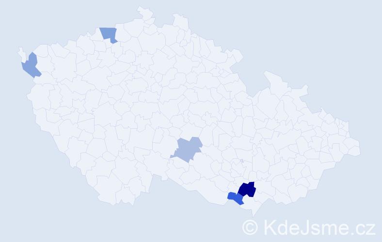 Příjmení: 'Kanevová', počet výskytů 8 v celé ČR